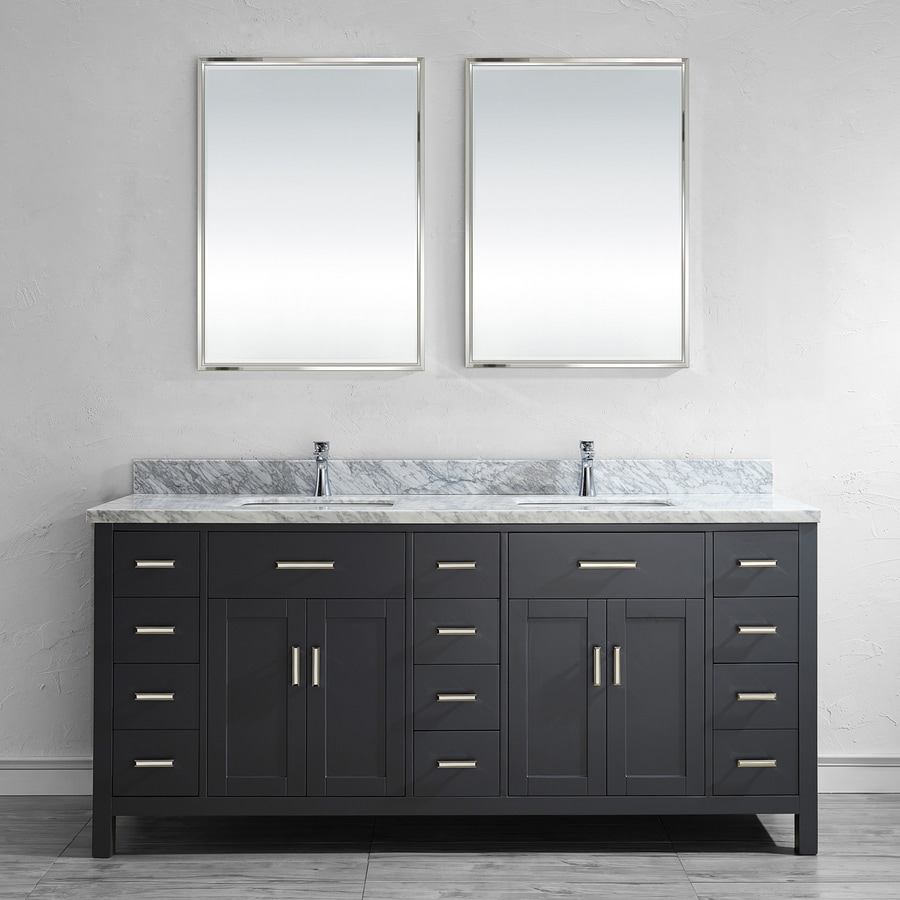 Spa Bathe Kenzie French Gray Undermount Double Sink Bathroom Vanity with Natural Marble Top (Mirror Included) (Common: 75-in x 22-in; Actual: 75-in x 22-in)
