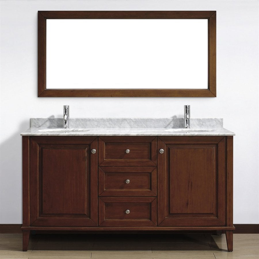 shop spa bathe lauren classic cherry undermount double sink bathroom vanity with natural marble