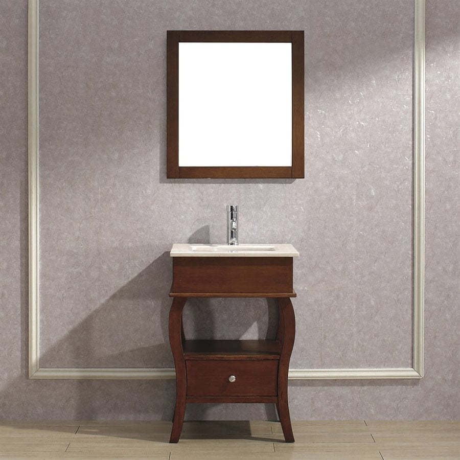 Spa Bathe Winchester Classic Cherry Undermount Single Sink Bathroom Vanity with Natural Marble Top (Mirror Included) (Common: 24-in x 18-in; Actual: 24-in x 18-in)