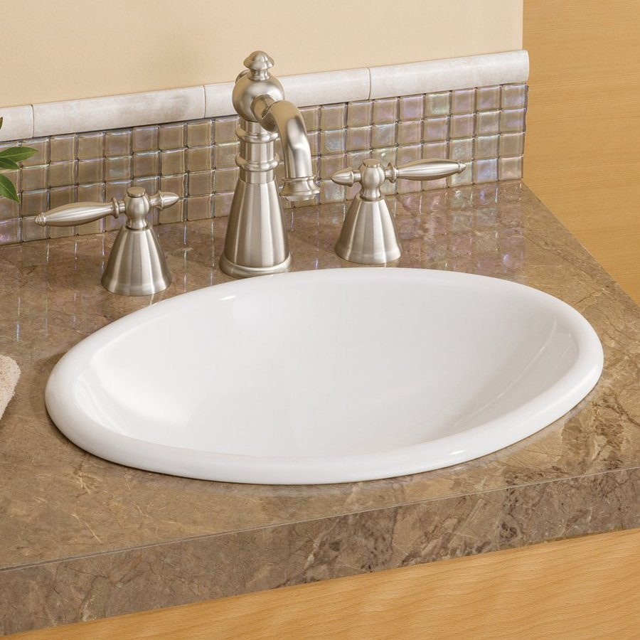 Cheviot White Drop-in Oval Bathroom Sink
