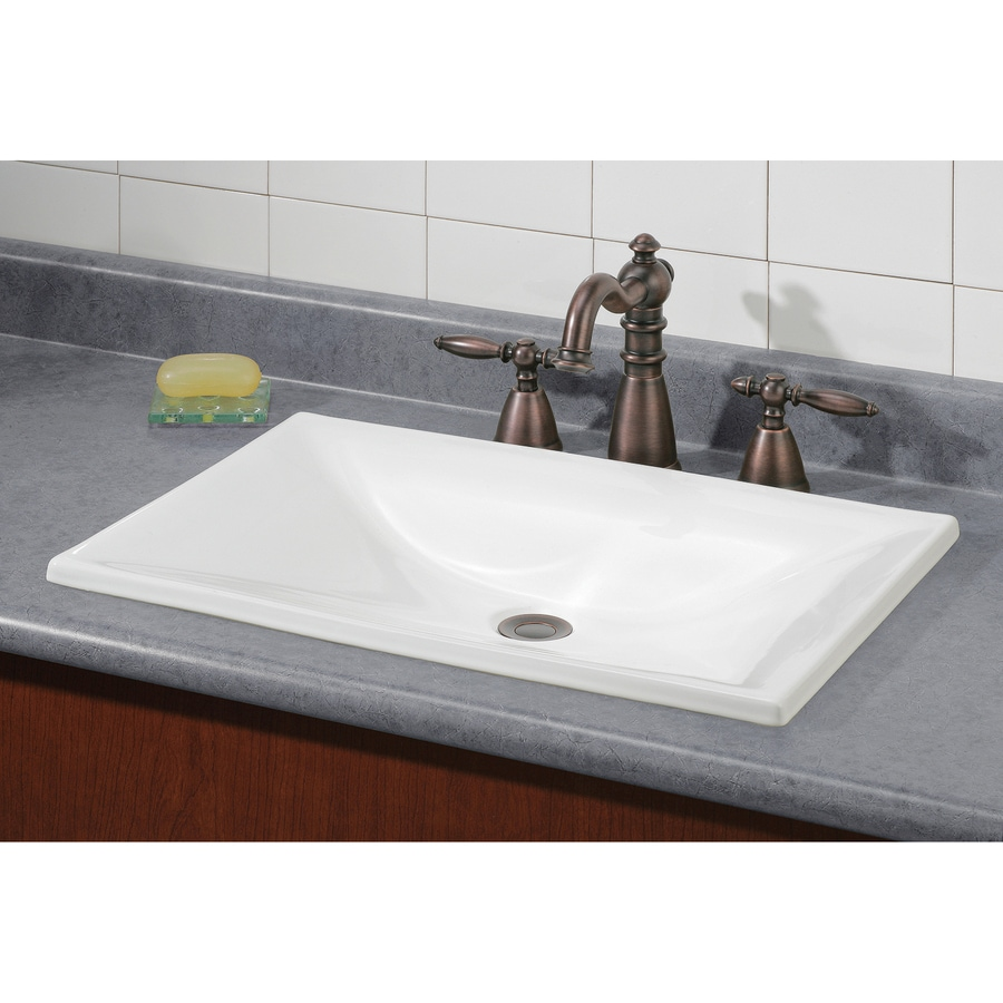 Estoril White Drop-in Rectangular Bathroom Sink Product Photo