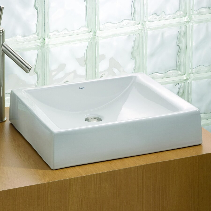 Cheviot Pacific White Vessel Rectangular Bathroom Sink