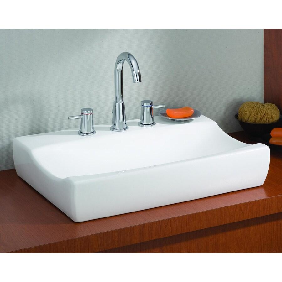 Cheviot Atlantic White Vessel Rectangular Bathroom Sink