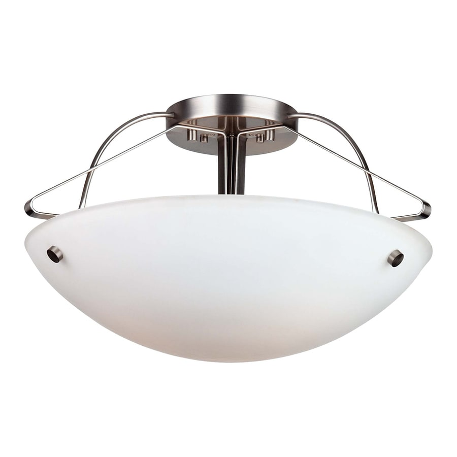 Philips Roomstylers 21.5-in W Satin Nickel Etched Glass Semi-Flush Mount Light