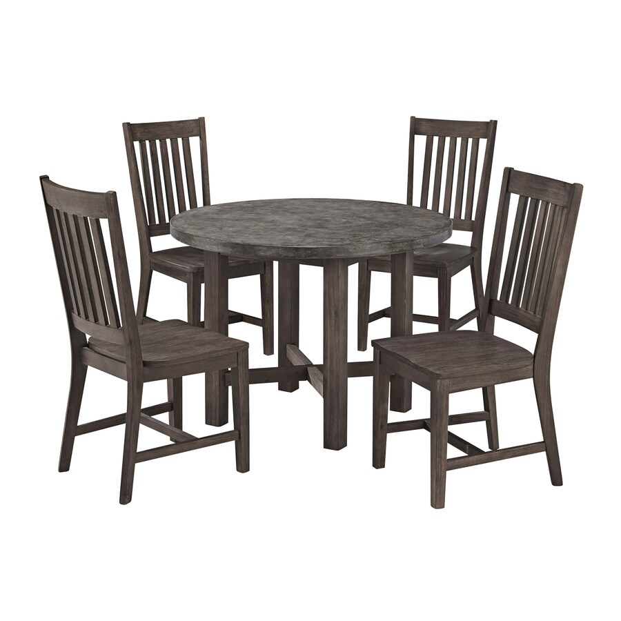 Home Styles Concrete Chic 5-Piece Brown/Gray Concrete Patio Dining Set