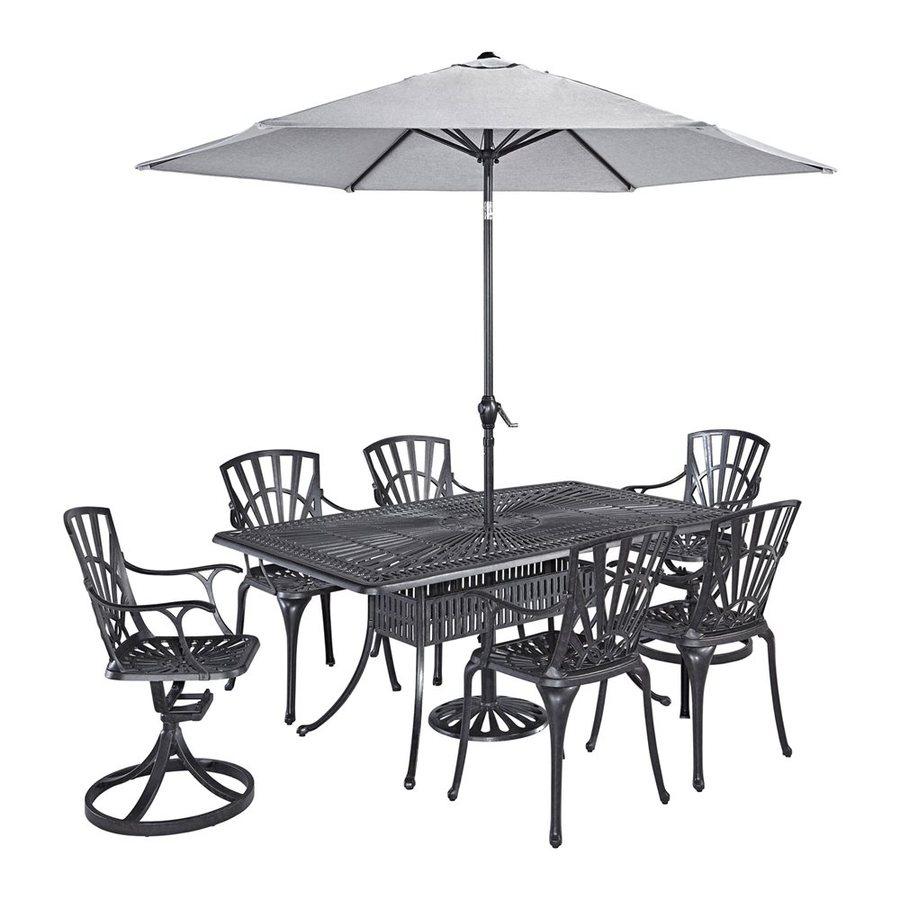 Home Styles Largo 8-Piece Charcoal Aluminum Patio Dining Set