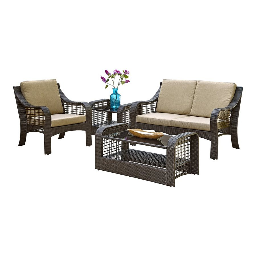 Home Styles Lanai Breeze 4-Piece Wicker Patio Conversation Set