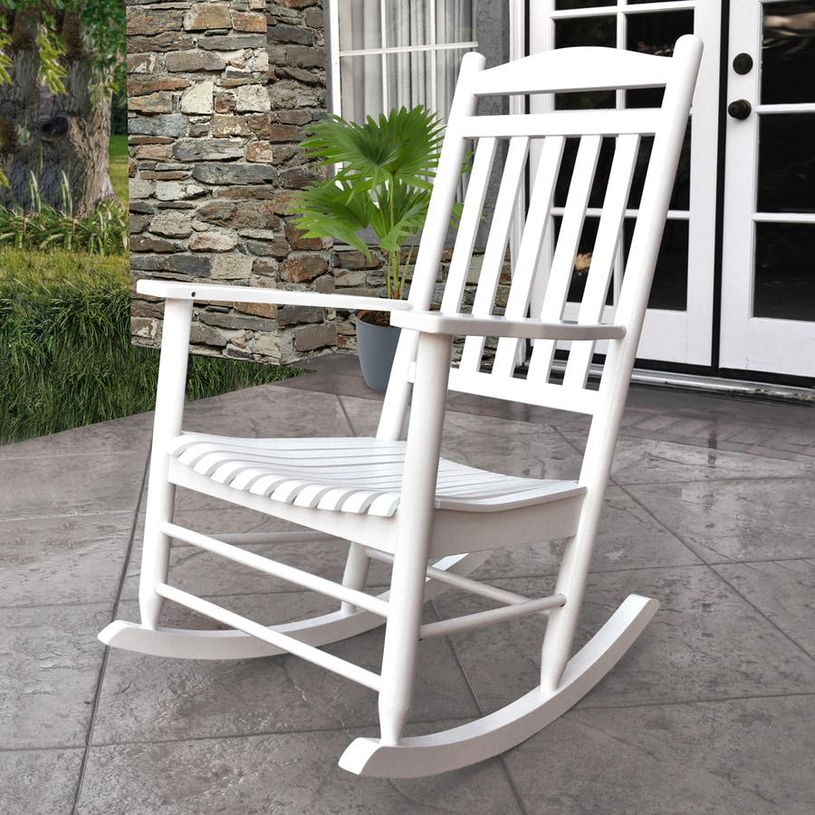 Shine Company Maine White Patio Rocking Chair