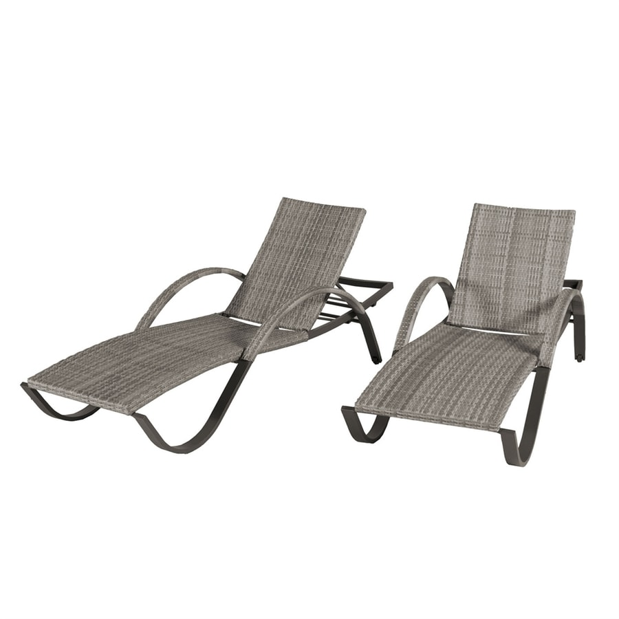 shop rst brands cannes 2 count wicker stackable patio chaise lounge chairs at lowes