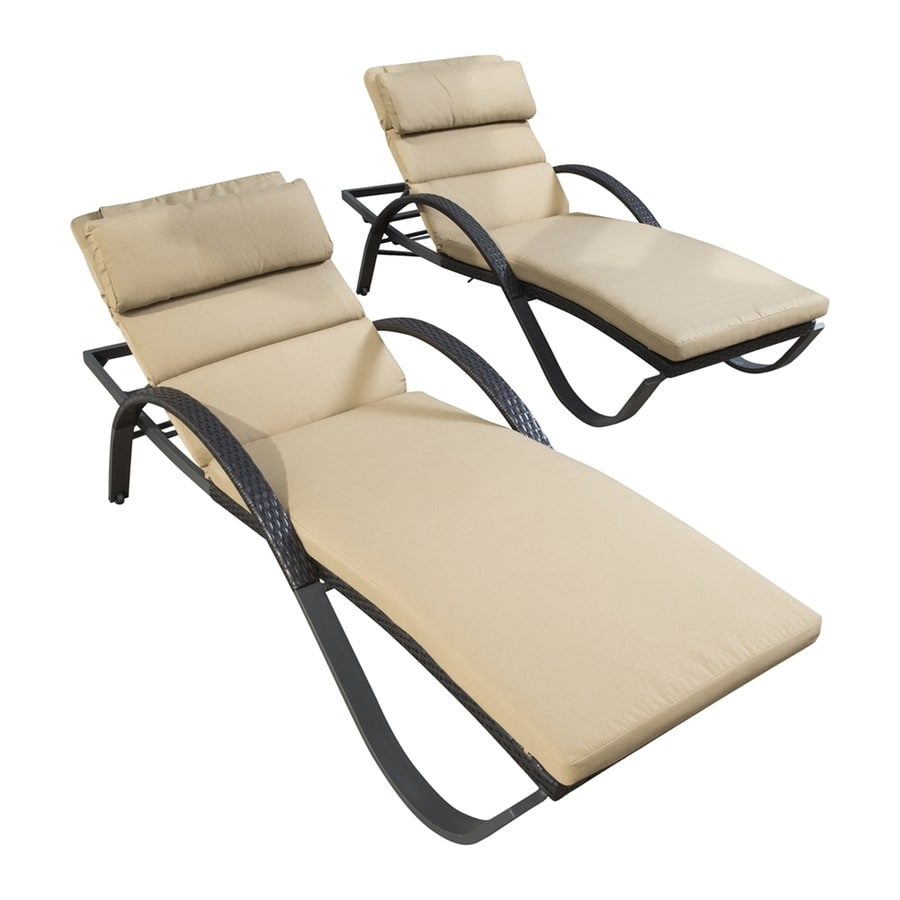 RST Brands Deco 2-Count Delano Beige Wicker Stackable Patio Chaise Lounge Chairs
