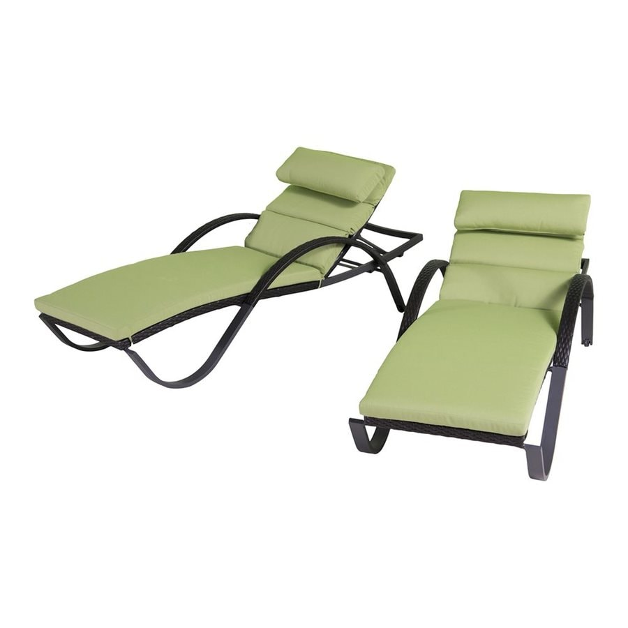 RST Brands Deco 2-Count Ginkgo Green Wicker Stackable Patio Chaise Lounge Chairs