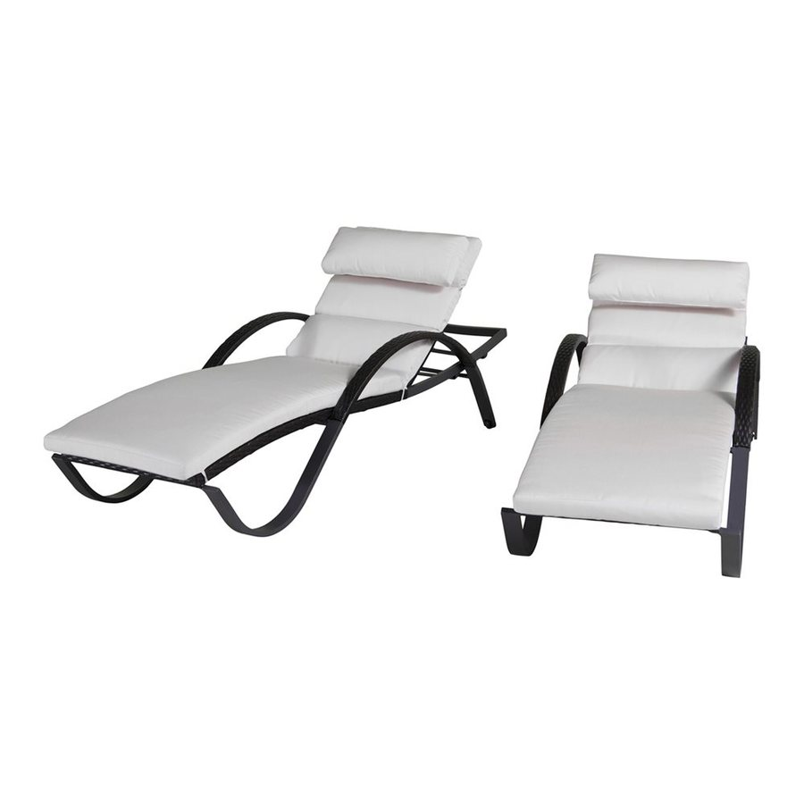 RST Brands Deco 2-Count Moroccan Cream Wicker Stackable Patio Chaise Lounge Chairs