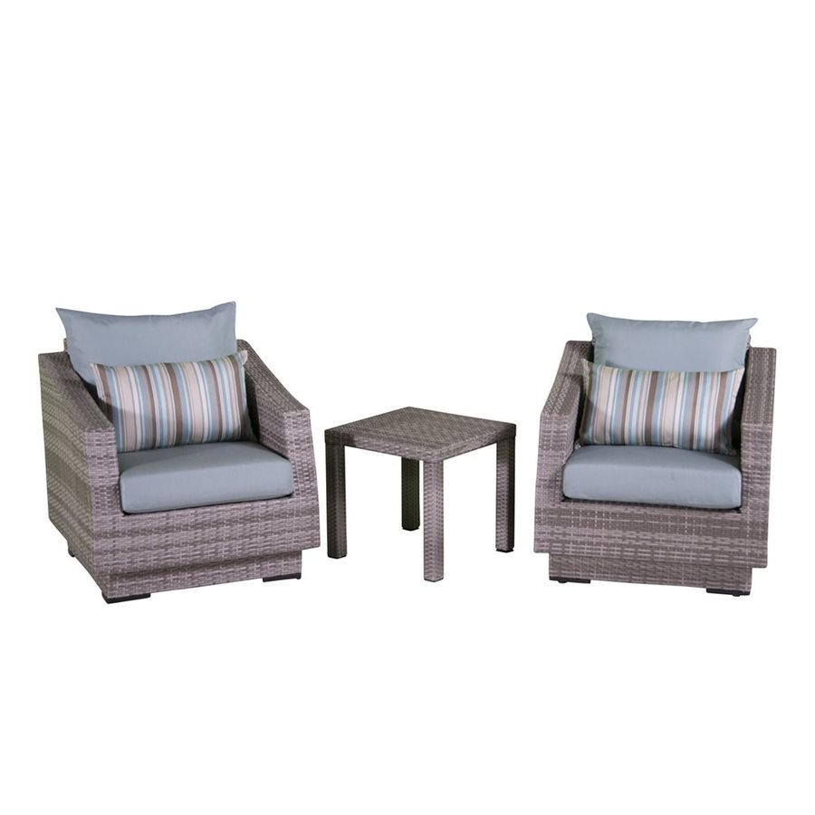 RST Brands Cannes 3-Piece Wicker Patio Conversation Set