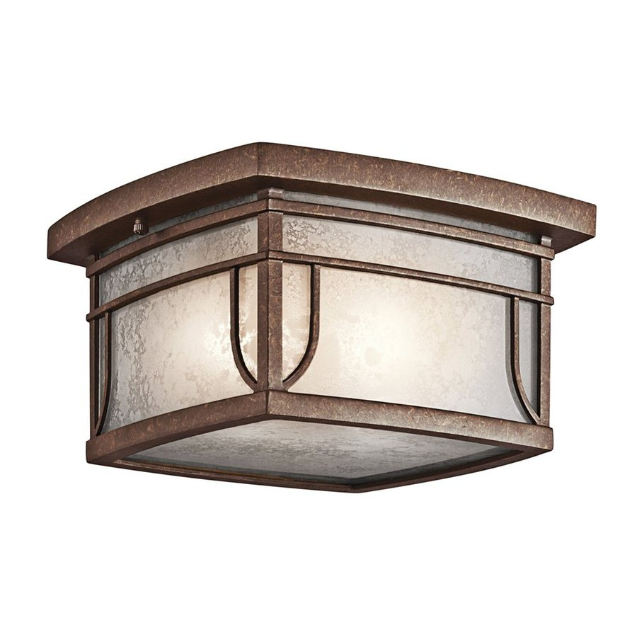 Kichler Lighting Riverbank 9.5-in W Aged Bronze Outdoor Flush-Mount Light