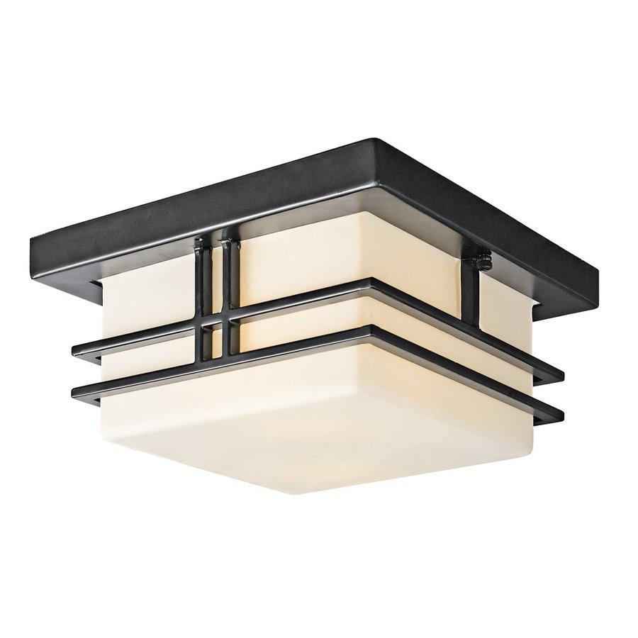 Kichler Lighting Tremillo 11.5-in W Black Outdoor Flush-Mount Light