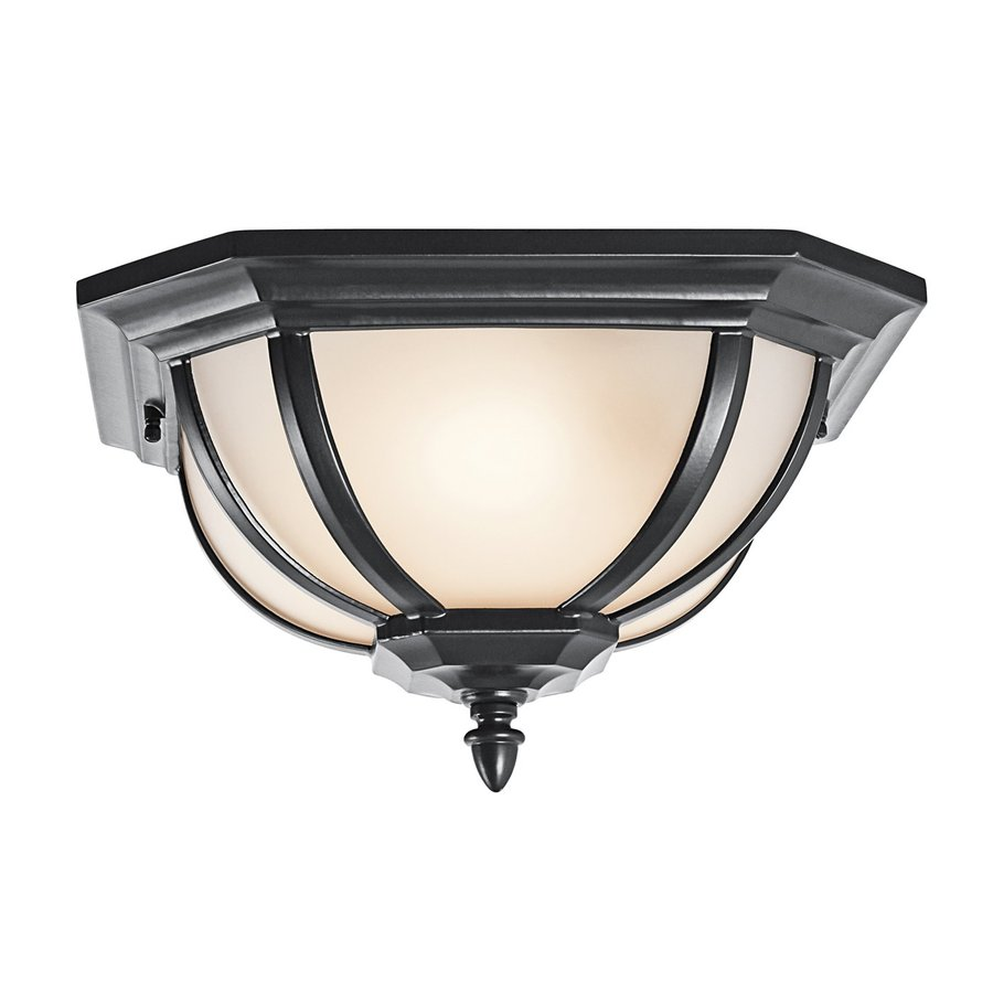 Kichler Lighting Salisbury 13.5-in W Black Outdoor Flush-Mount Light
