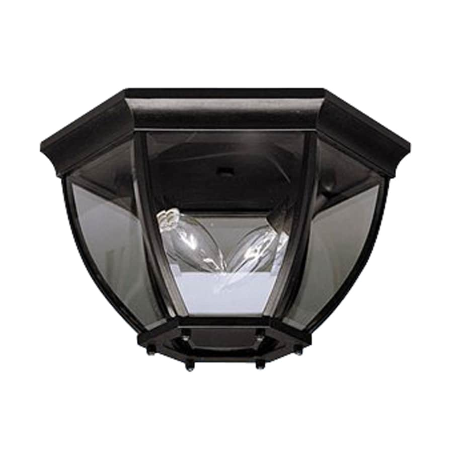 Shop Kichler Lighting Townhouse 12 In W Black Outdoor Flush Mount Light At Lo