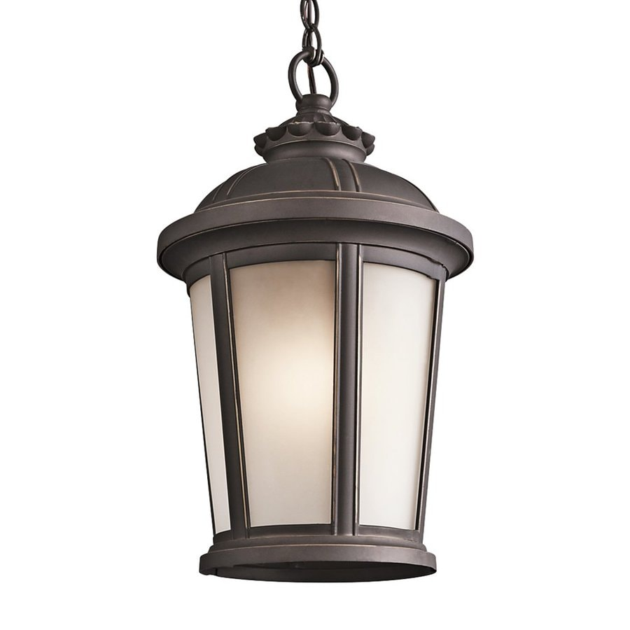 Outdoor Hanging Lanterns Lowes: Shop Kichler Lighting Ralston 17-in Rubbed Bronze Outdoor