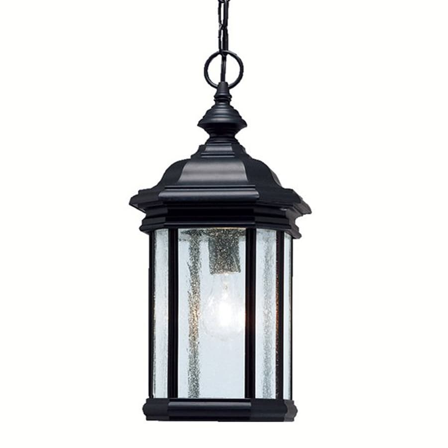 Shop kichler lighting kirkwood 18 in black outdoor pendant for Outside lawn lights