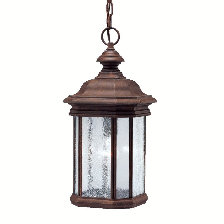 Shop kichler lighting kirkwood 18 in tannery bronze for Outdoor hanging porch lights