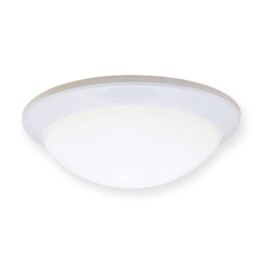 Shop kichler lighting ceiling space 14 in w white ceiling for Flush mount white ceiling light