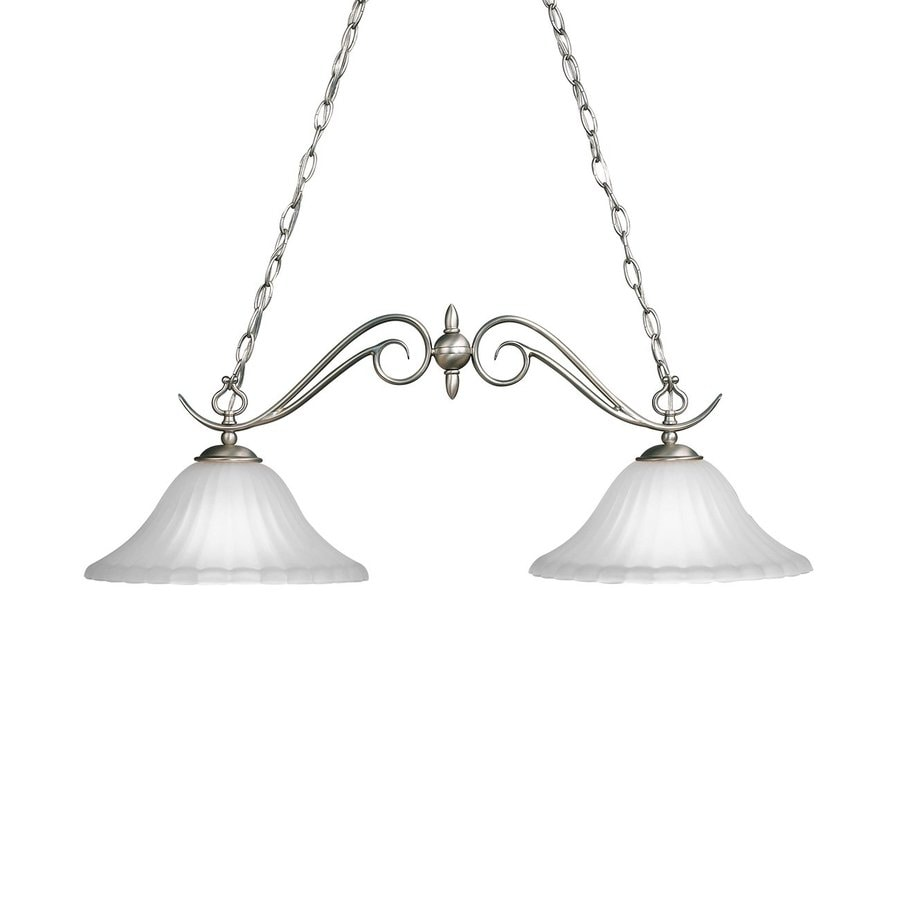 Kichler Lighting Willowmore 34-in W 2-Light Brushed Nickel  Kitchen Island Light with White Shades