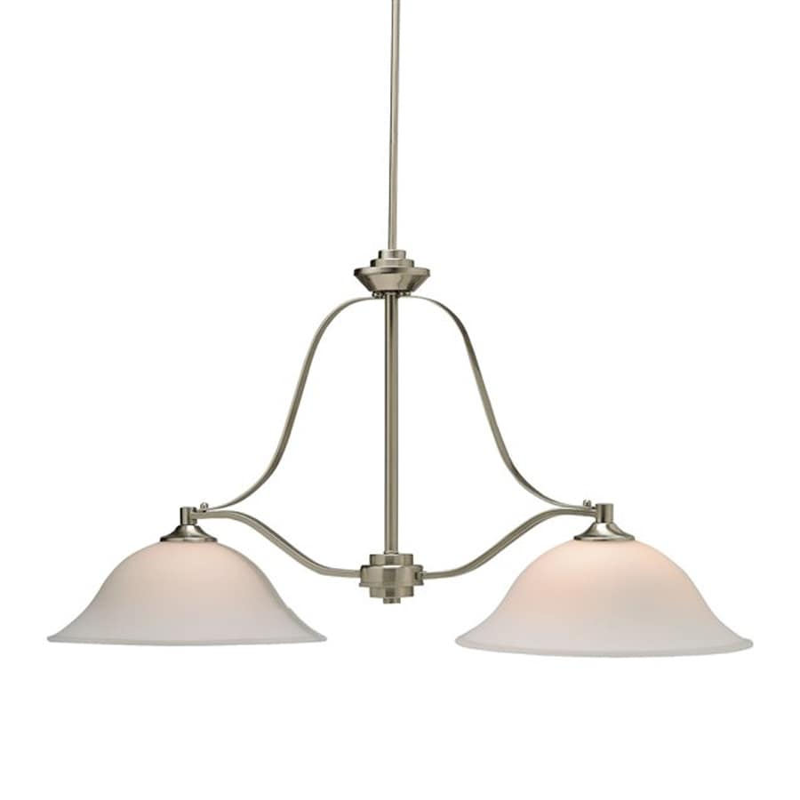 Kichler Lighting Langford 40-in W 2-Light Brushed Nickel  Kitchen Island Light with White Shades
