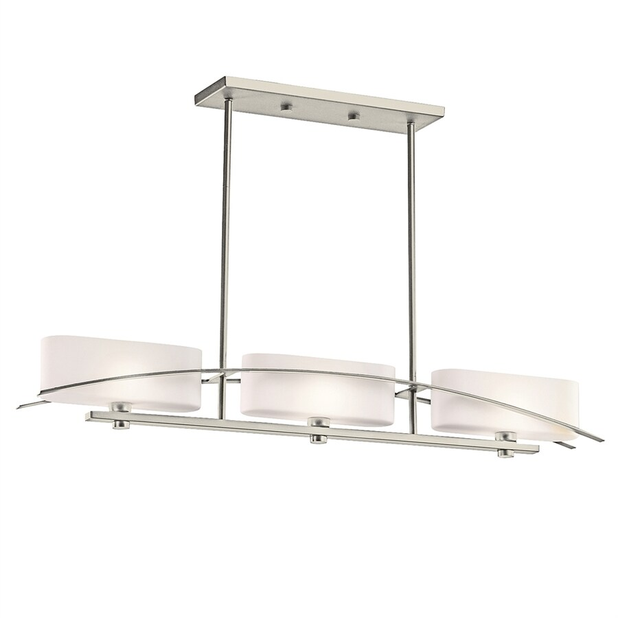 kichler lighting suspension 41 in w 3 light brushed nickel kitchen