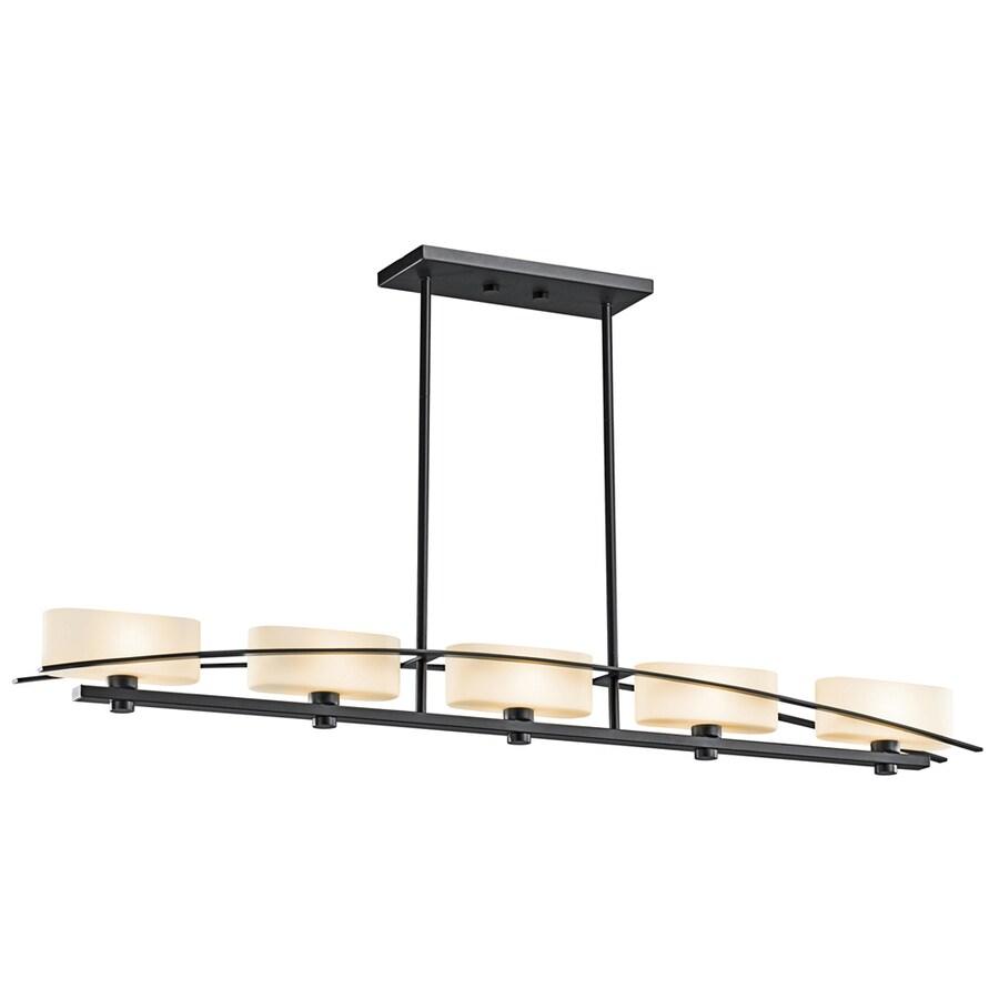 Kichler Lighting Suspension 50.75-in W 5-Light Black  Kitchen Island Light with Tinted Shades