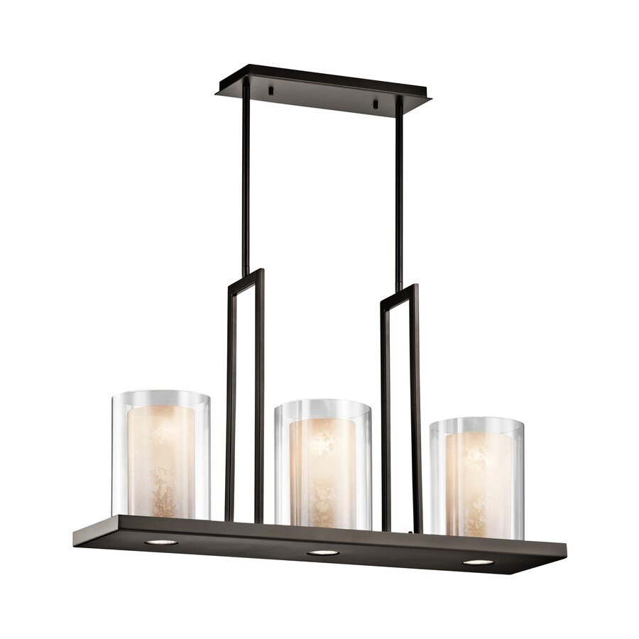 Kichler Lighting Triad 31.25-in W 3-Light Olde Bronze  Kitchen Island Light with Tinted Shades