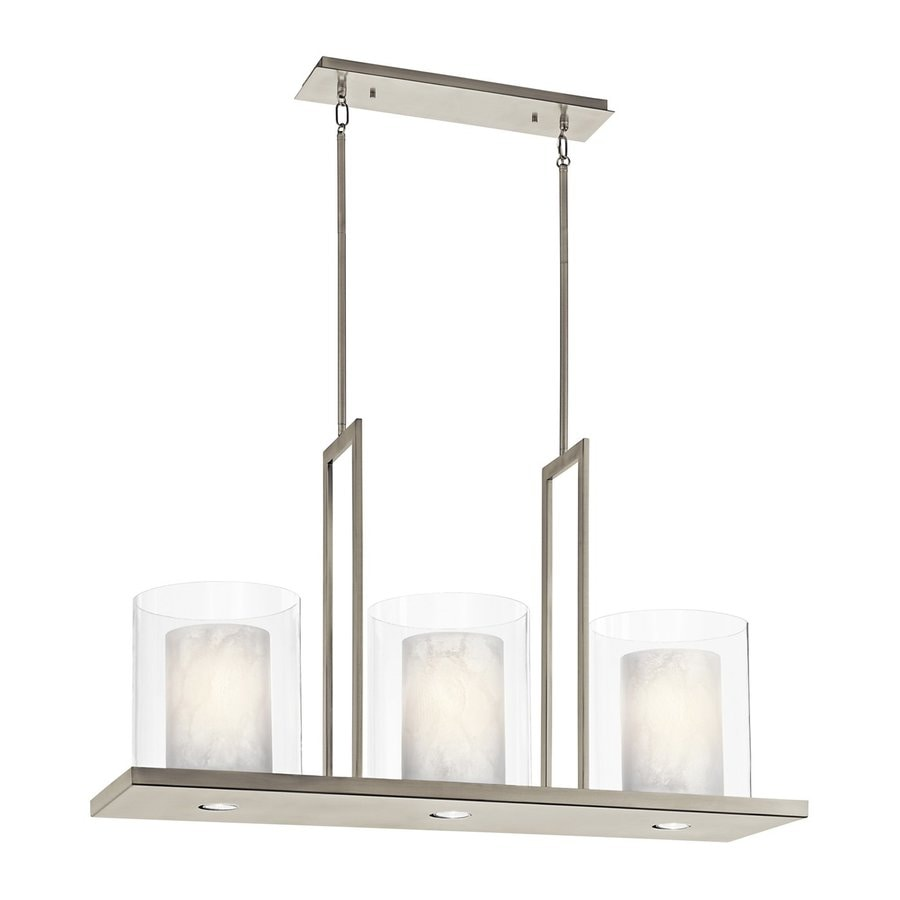 Kichler Lighting Triad 40-in W 3-Light Classic Pewter  Kitchen Island Light with Tinted Shades