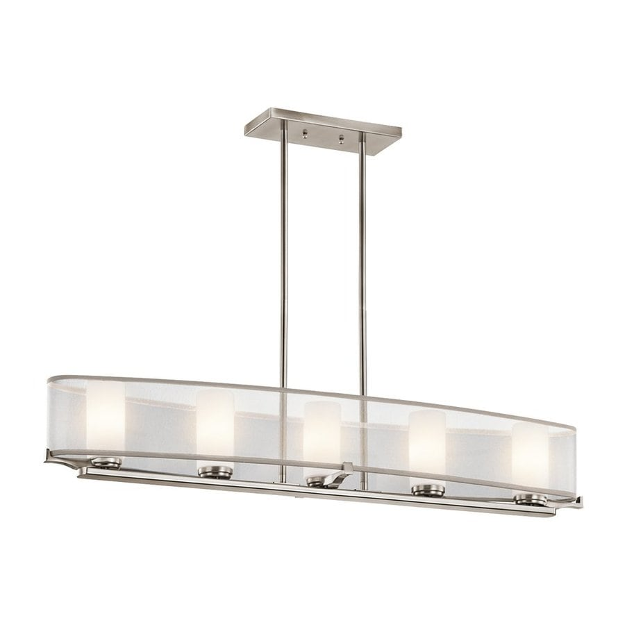 Kichler Lighting Saldana 39-in W 5-Light Classic Pewter  Kitchen Island Light with Fabric Shade