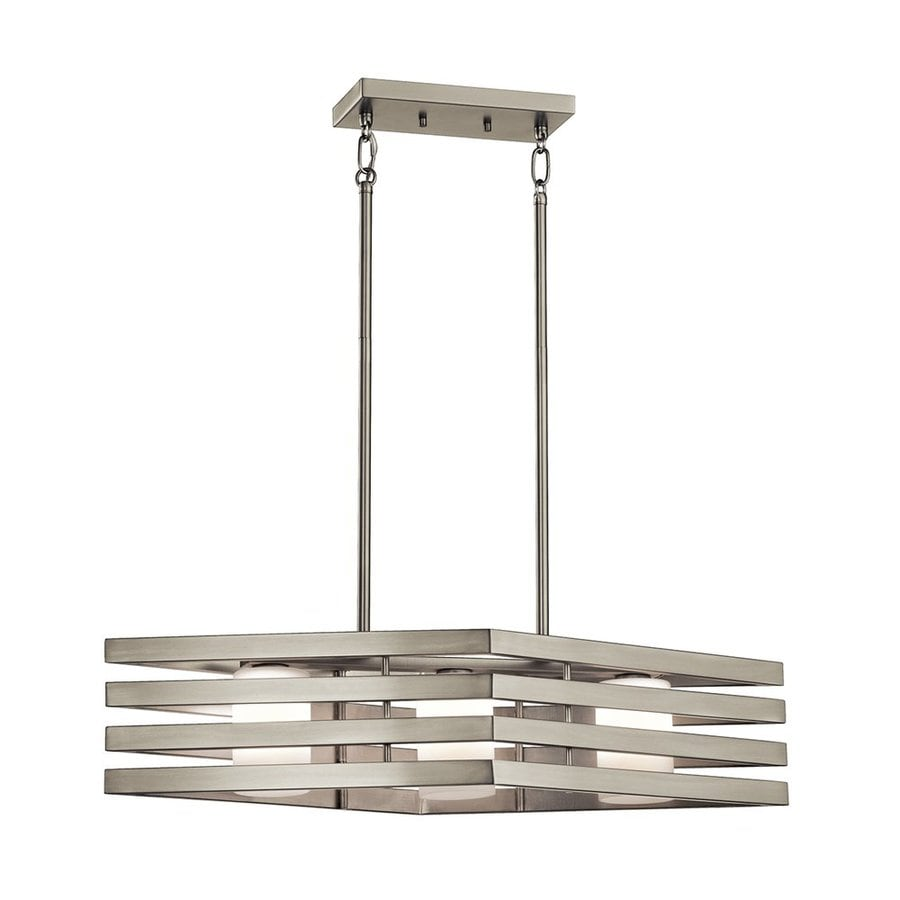 Shop kichler lighting realta 28 in w 3 light brushed nickel kitchen island light with white - Kitchen chandeliers lighting ...