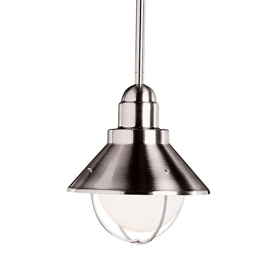 Kichler Lighting Family Spaces/Seaside 8-in Brushed Nickel Industrial Hardwired Mini Warehouse Pendant