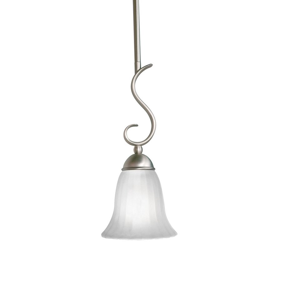 Kichler Lighting Willowmore 6.25-in Brushed Nickel Country Cottage Hardwired Mini Etched Glass Bell Pendant