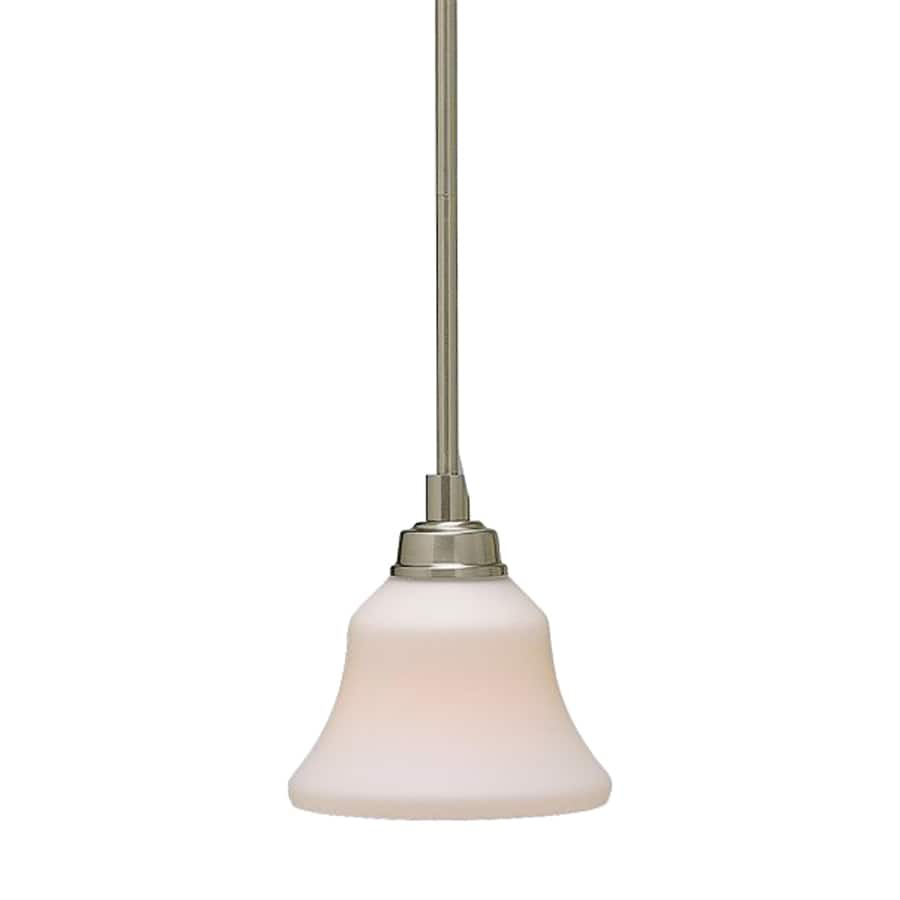 Kichler Lighting Langford 7-in Brushed Nickel Country Cottage Hardwired Mini Etched Glass Bell Pendant