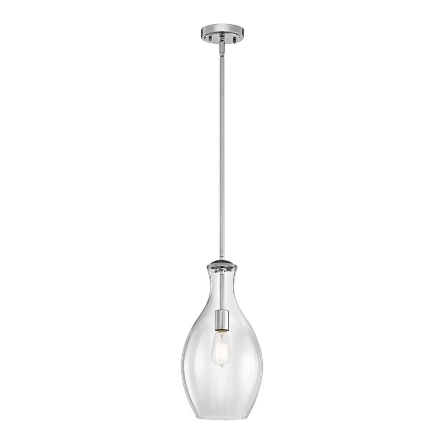 Kichler Lighting Everly 8.75-in Chrome Industrial Hardwired Mini Clear Glass Teardrop Pendant