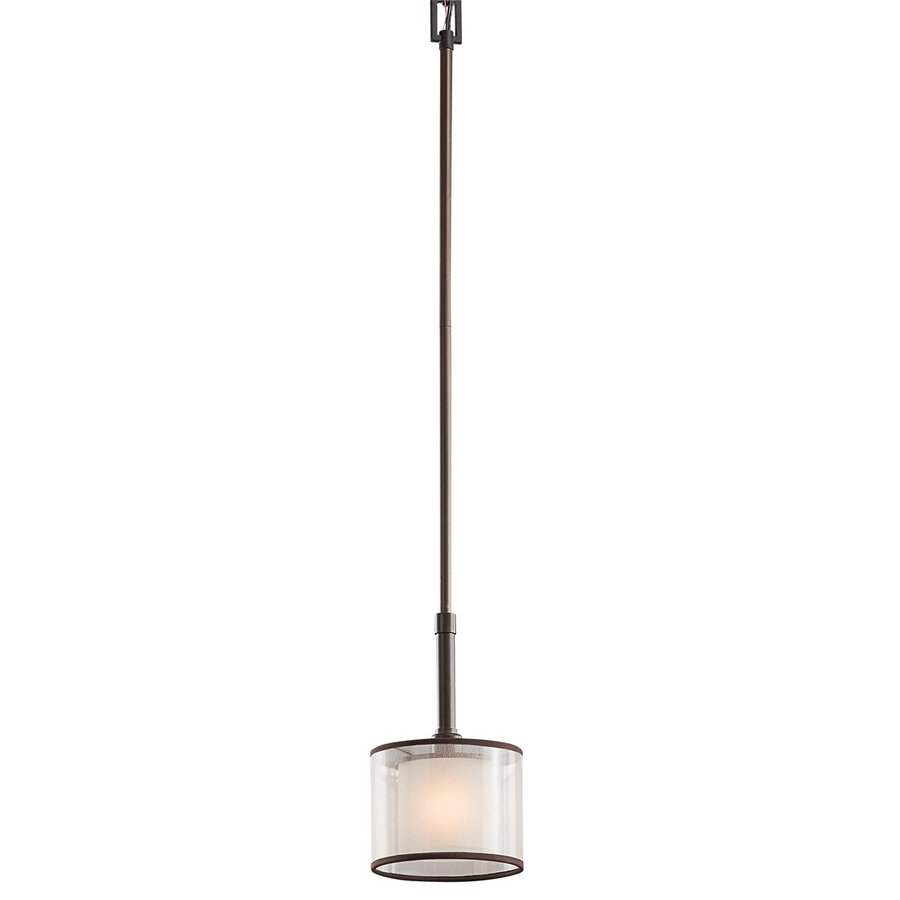 Kichler Lighting Lacey 6-in Mission Bronze Hardwired Mini Etched Glass Drum Pendant