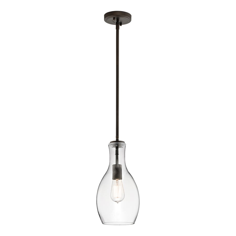 Kichler Lighting Everly 7-in Olde Bronze Industrial Hardwired Mini Clear Glass Teardrop Pendant