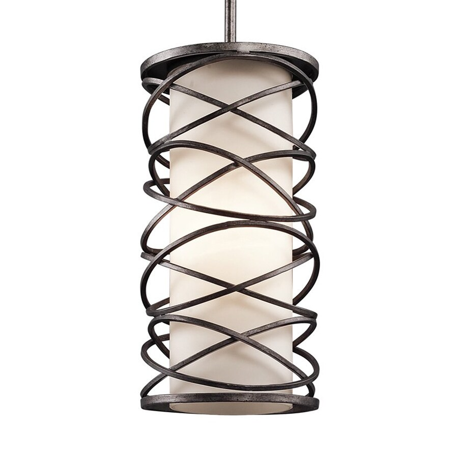 Kichler Lighting Krasi 7.75-in Warm Bronze Craftsman Hardwired Mini Etched Glass Cage Pendant