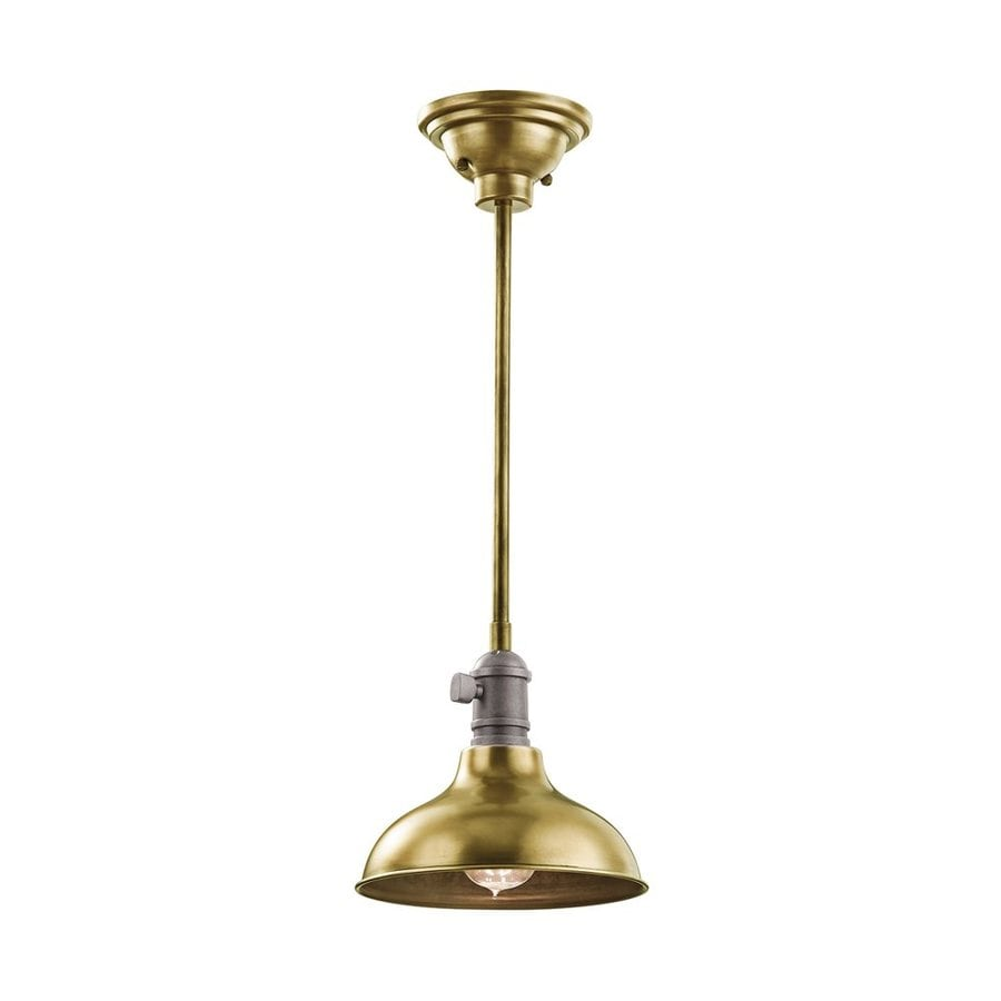 Kichler Lighting Cobson 8-in Natural Brass Industrial Hardwired Mini Warehouse Pendant