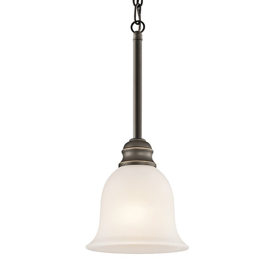 Kichler Lighting Tanglewood 6.25-in Olde Bronze Country Cottage Hardwired Mini Etched Glass Bell Pendant