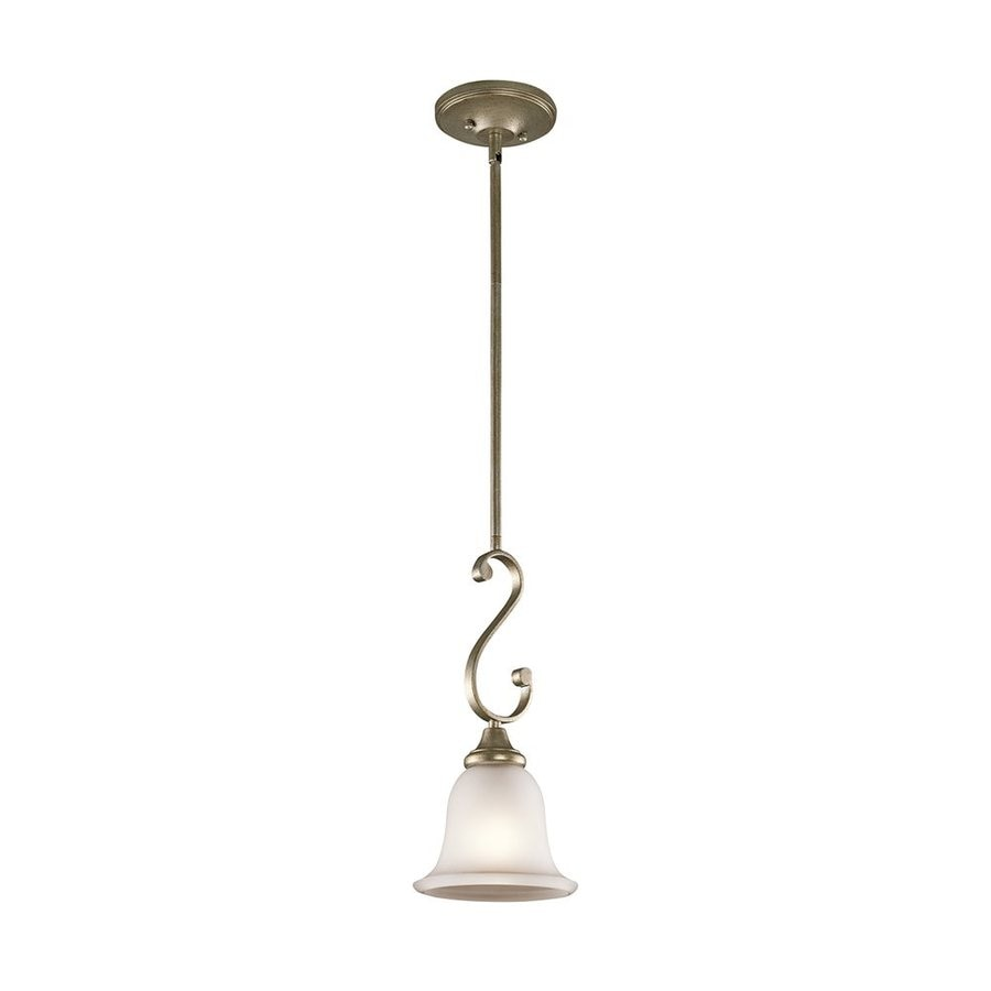 Kichler Lighting Monroe 7-in Sterling Gold Country Cottage Hardwired Mini Etched Glass Bell Pendant
