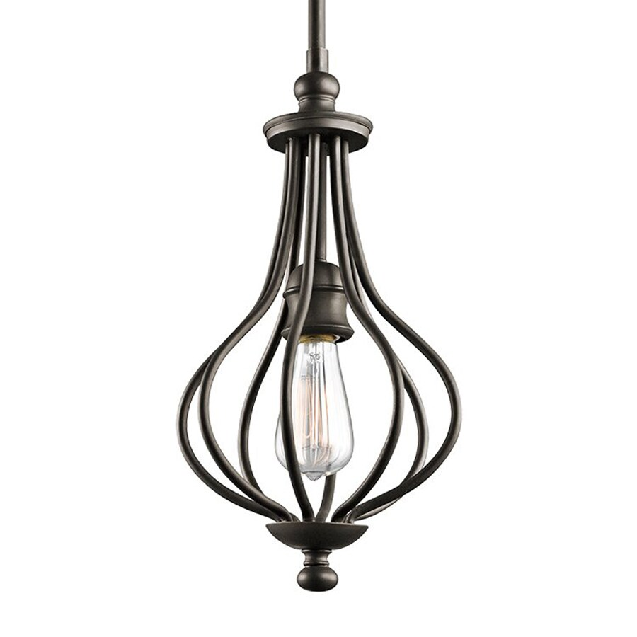 Kichler Lighting Kensington 8.25-in Olde Bronze Vintage Hardwired Mini Cage Pendant