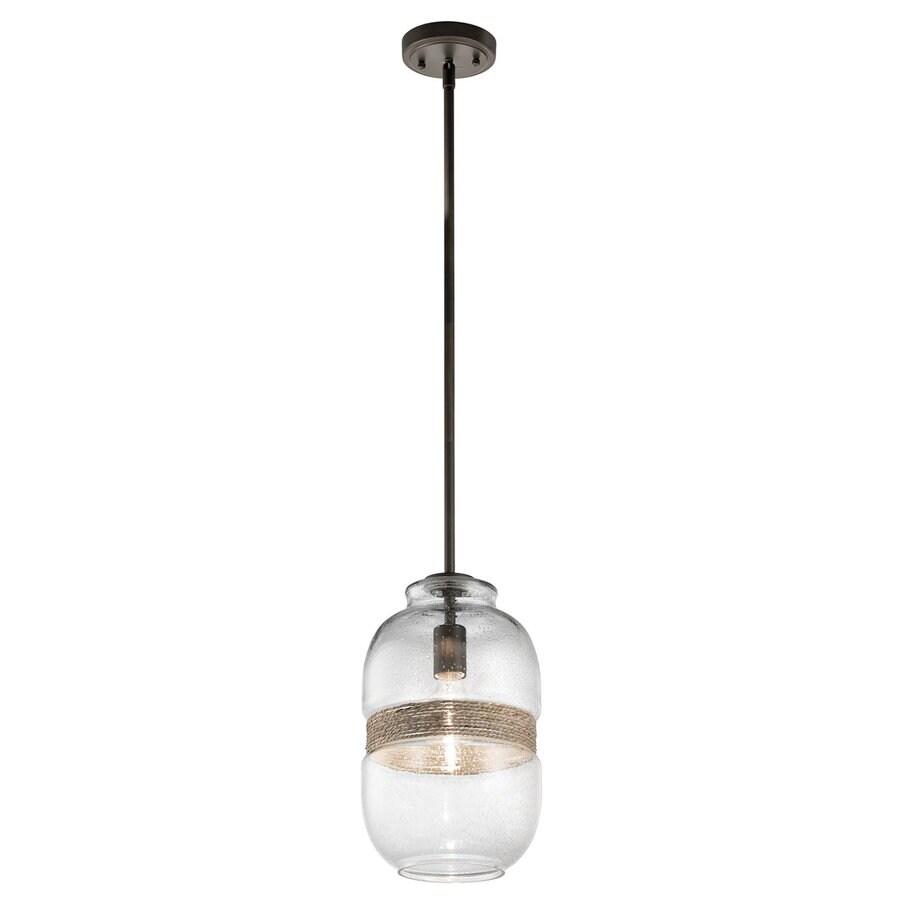 Kichler Lighting Kinny 8.25-in Olde Bronze Coastal Hardwired Mini Seeded Glass Jar Pendant