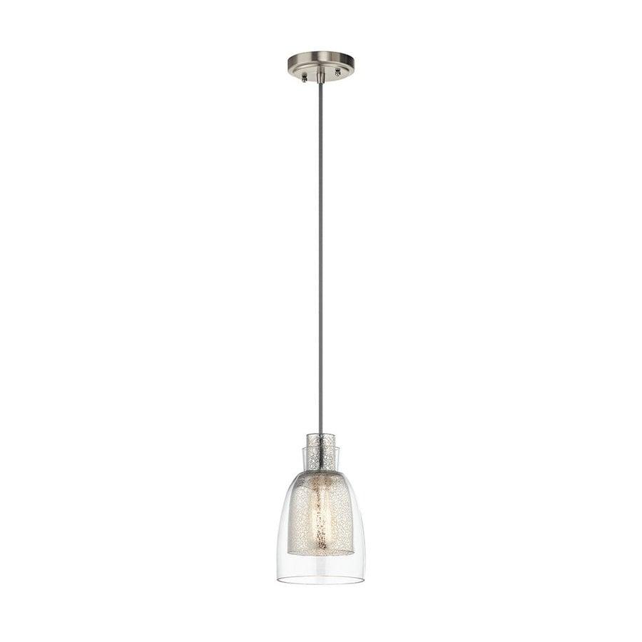 Kichler Lighting Evie 6-in Brushed Nickel Vintage Hardwired Mini Mercury Glass Bell Pendant