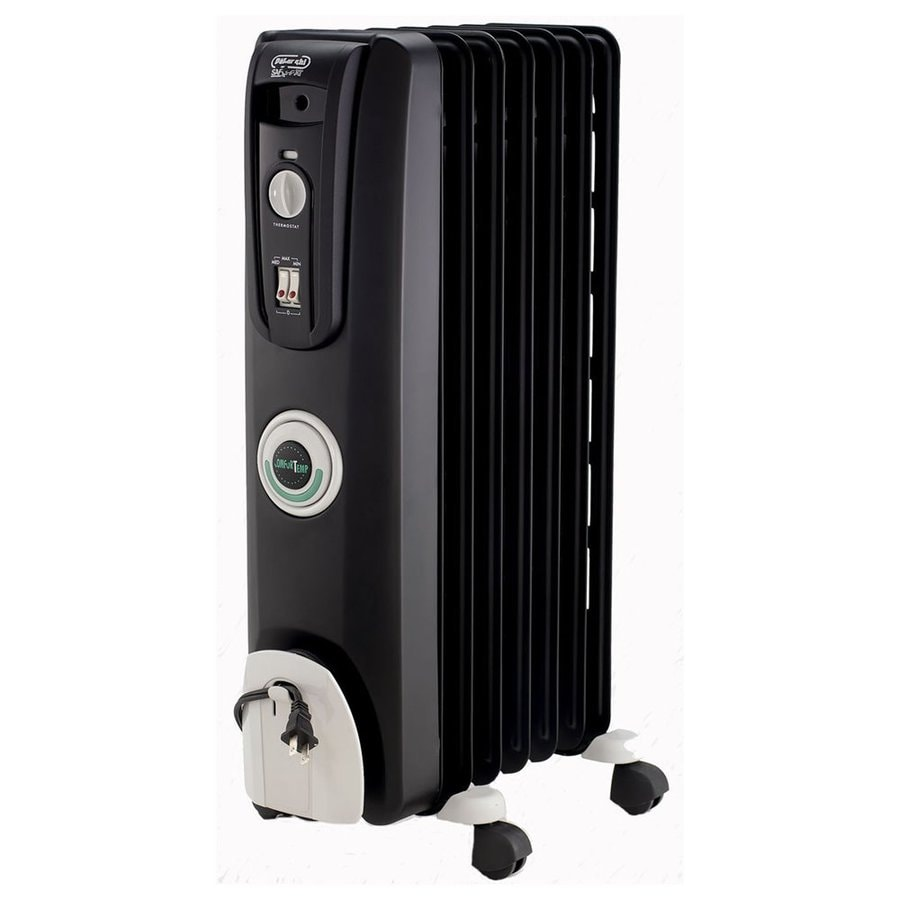 DeLonghi 5,118-BTU Oil-Filled Radiant Tower Electric Space Heater with Thermostat and Energy Saving Setting
