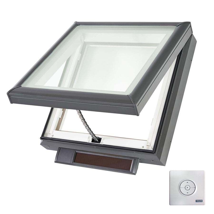 shop velux solar powered venting laminated skylight with shade fits rough opening 22 5 in x 22. Black Bedroom Furniture Sets. Home Design Ideas