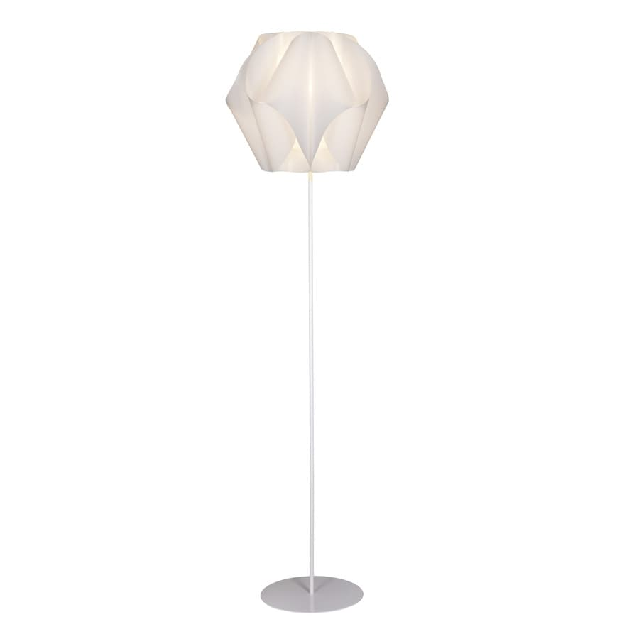 Style Selections Gambrell 63.4-in White Standard Shaded Indoor Floor Lamp with Plastic Shade