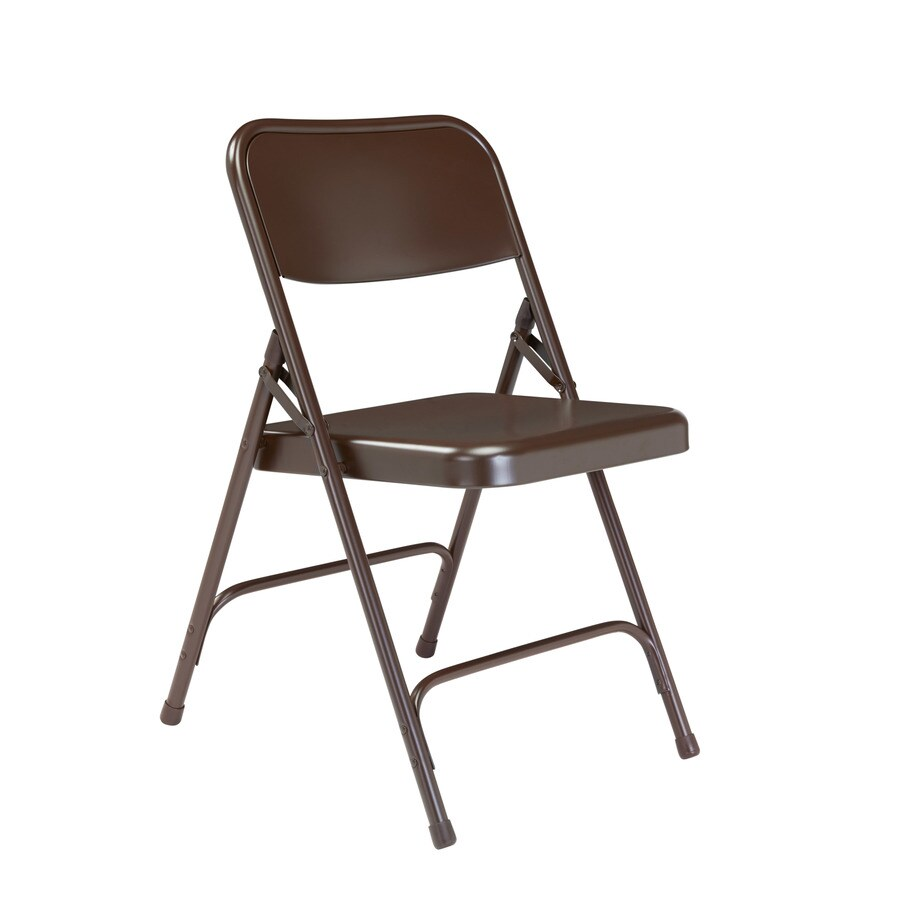 National Public Seating Set of 4 Indoor Steel Brown Standard Folding Chair